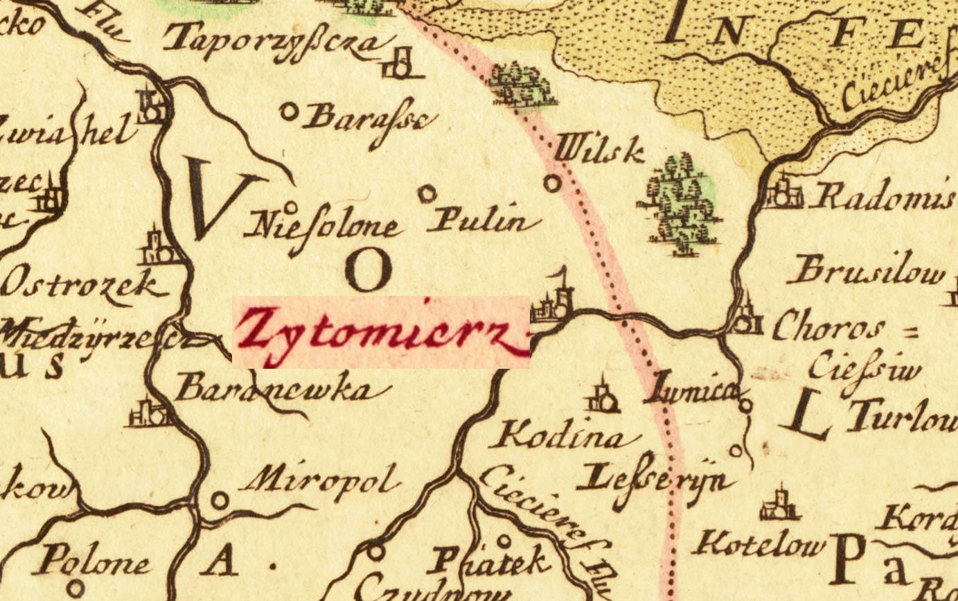 Żytomierz na mapie z 1690 roku