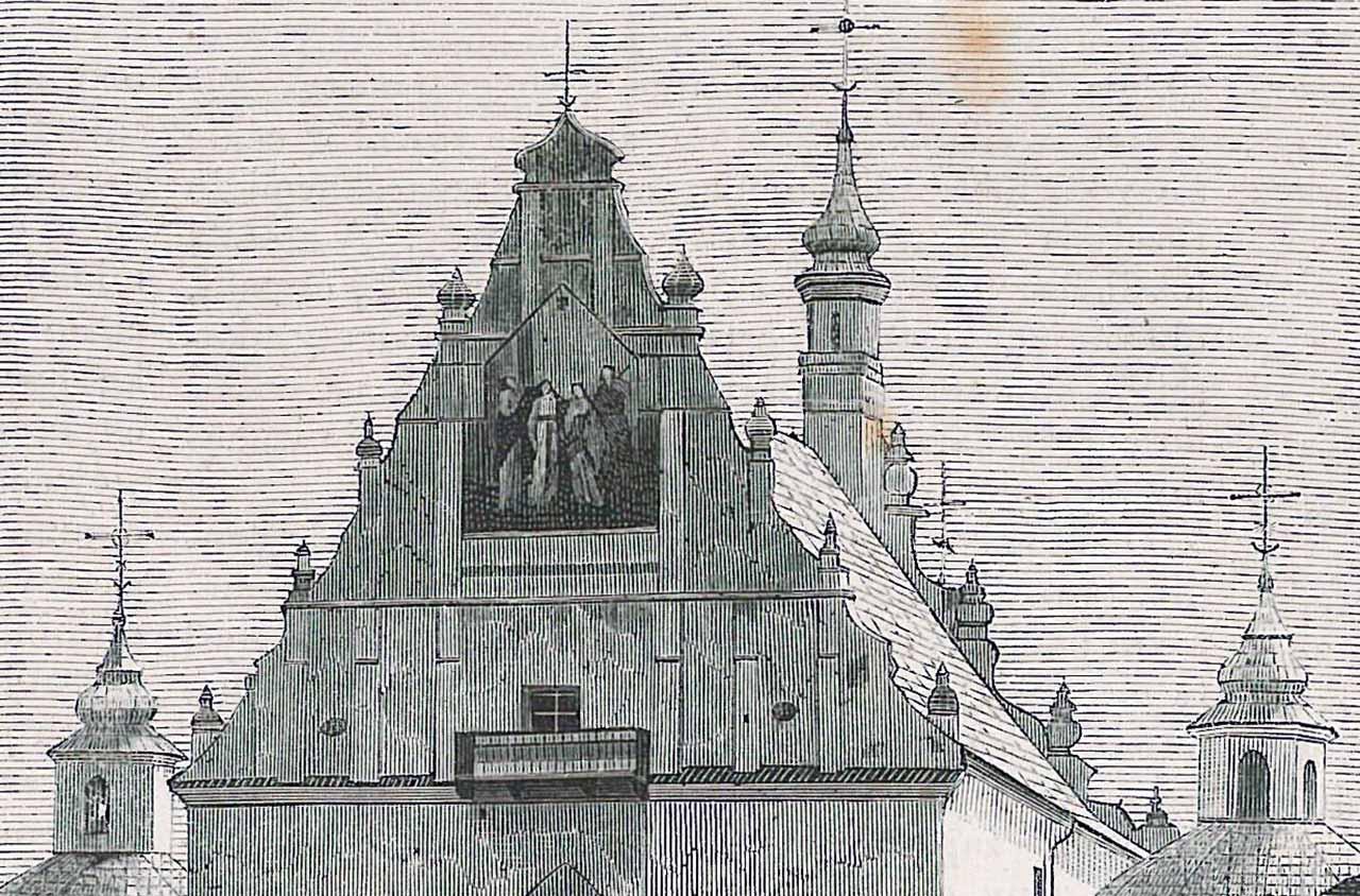 Wieże Latyczowskiego Sanktuarium. Ilustracja z 1872 r.
