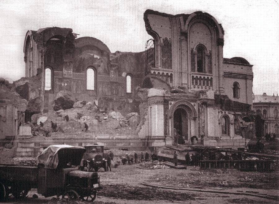 Zburzona przez bolszewików w 1931 roku zabytkowa cerkiew w Moskwie.