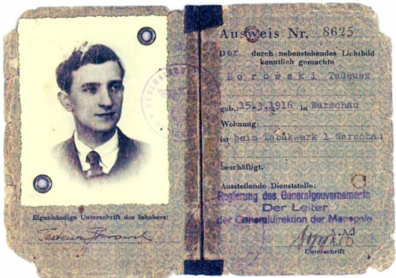 Przepustka Borowskiego w okupowanej Polsce