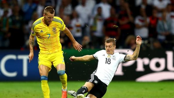 Fragment meczu Ukraina-Niemcy. Źródło: UEFA
