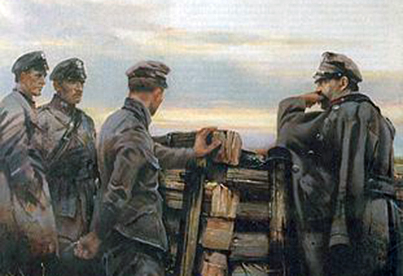 Obraz Stefana Garwatowskiego, przedstawiający Piłsudskiego pod Kostiuchnówką