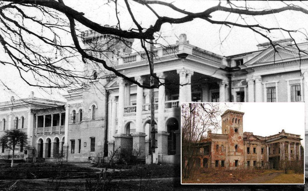 Pałac Sobańskich w Obodówce. Zdjęcie z połowy lat 50. XX w. Kolorowe zdjęcie przedstawia stan obecny. Źródło: sergekot.com