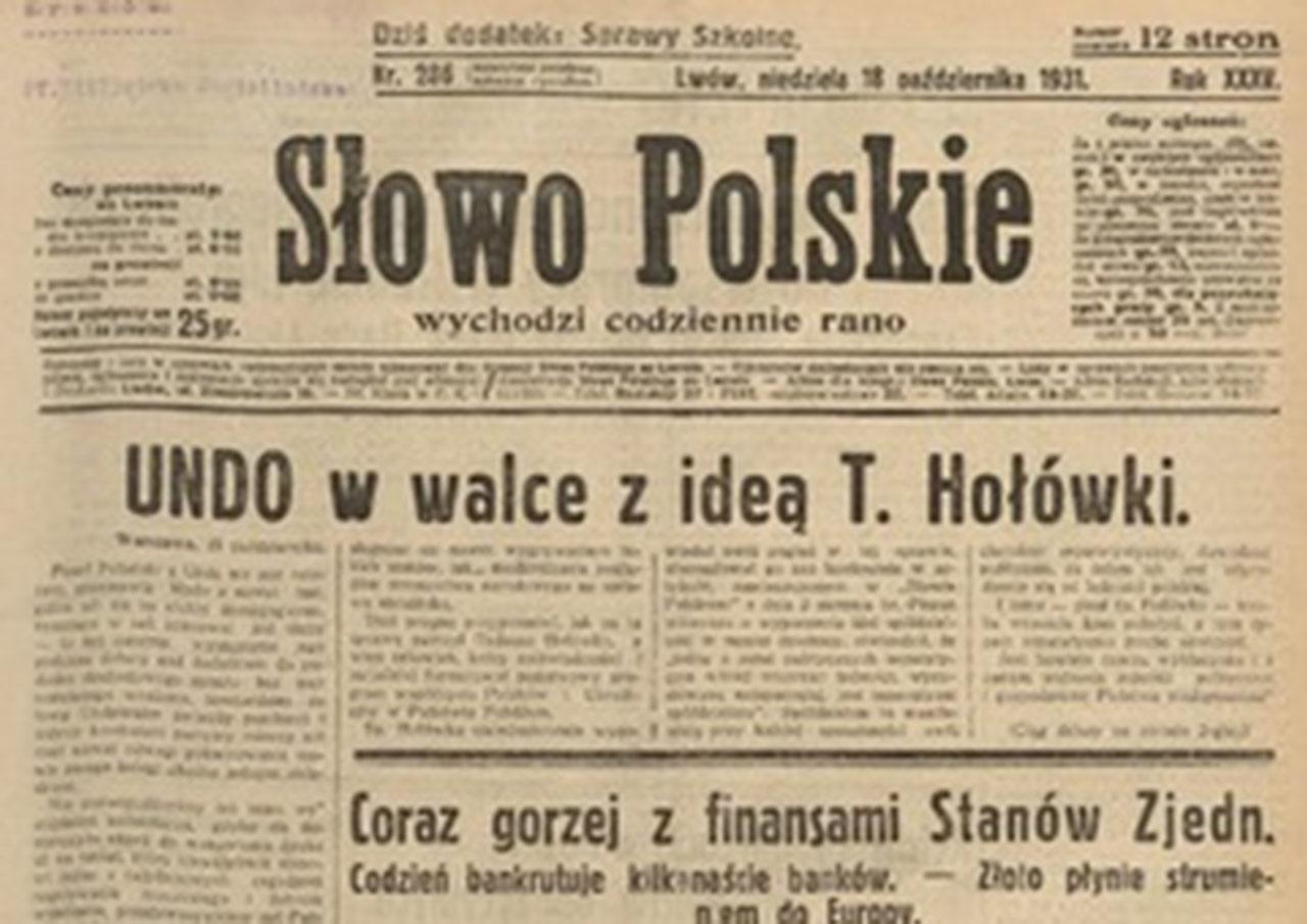 Pierwsza szpalta Słowa Polskiego wydawanego we Lwowie. 18 października 1931 r.