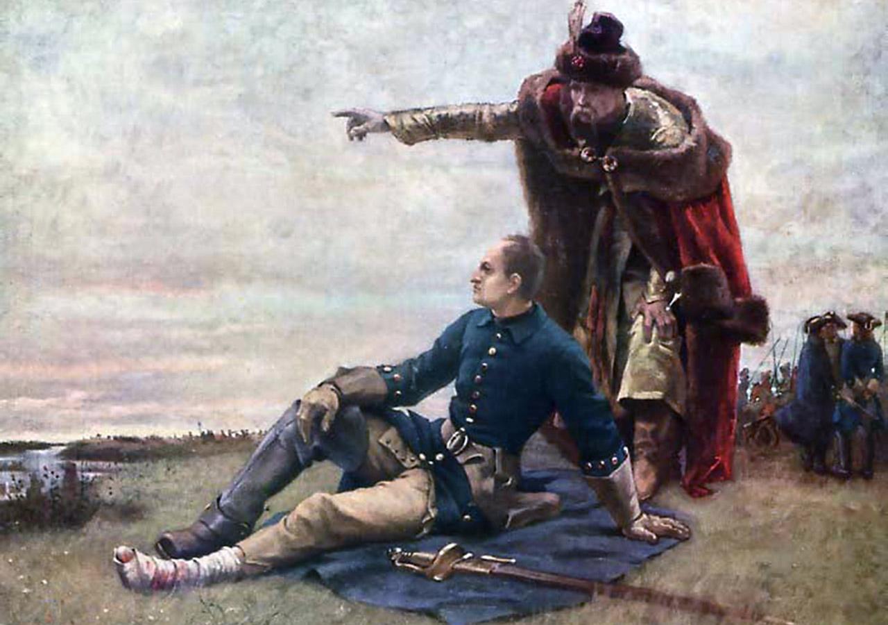Iwan Mazepa i Karol XII po przegranej Połtawskiej Bitwie