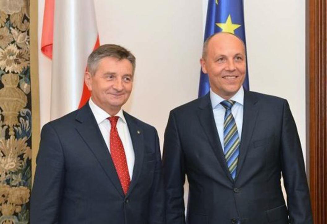Marszałek Marek Kuchciński oraz szef Rady Najwyższej Andrij Parubij. Źródło: rian.com.ua