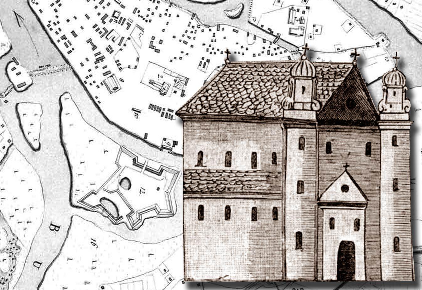 Cerkiew św. Mikołaja w Brześciu, gdzie została podpisana unia brzeska. Ryc. z XVIII wieku. Zburzona w czasach panowania rosyjskiego