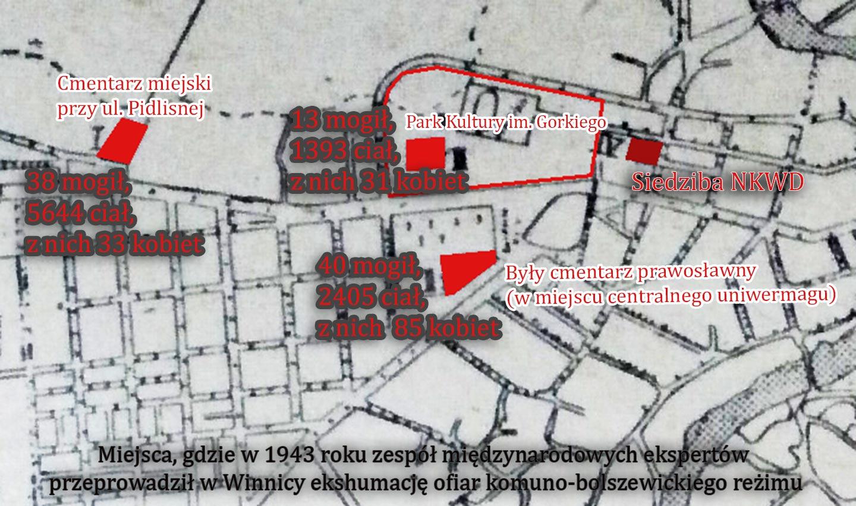 Mapa na której widać trzy miejsca, gdzie sowieci chowali ofiary swoich mordów.