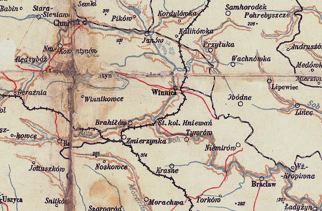 Winnica na mapie z 1922 r.