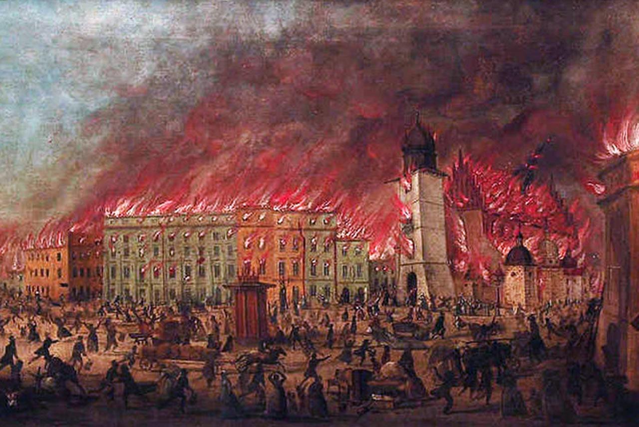 Pożar Krakowa w 1850 roku. Teodor Baltazar Stachowicz, Pożar Krakowa, Rynek Główny, lipiec 1850, licencja PD, Wikimedia Commons