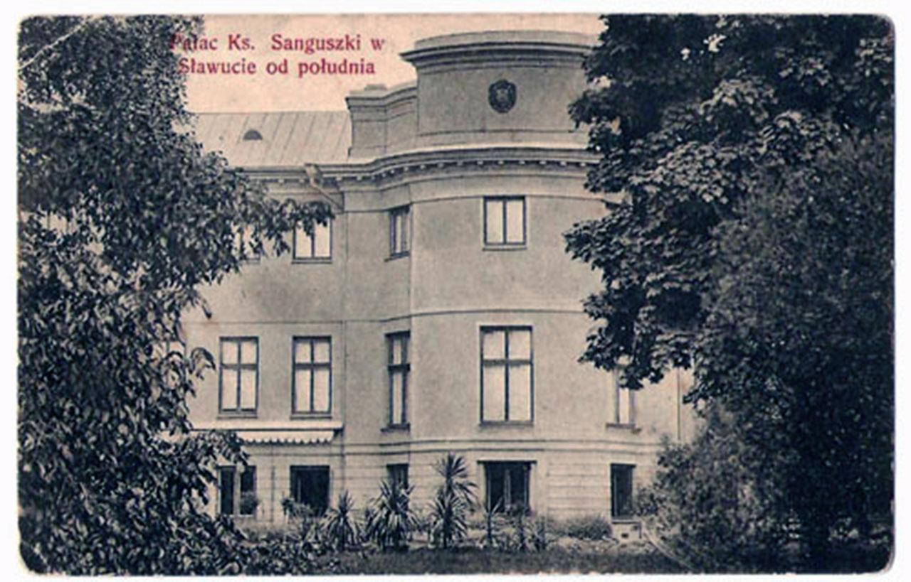 Pałac Sanguszków w Sławucie. Zdjęcie sprzed przewrotu bolszewickiego