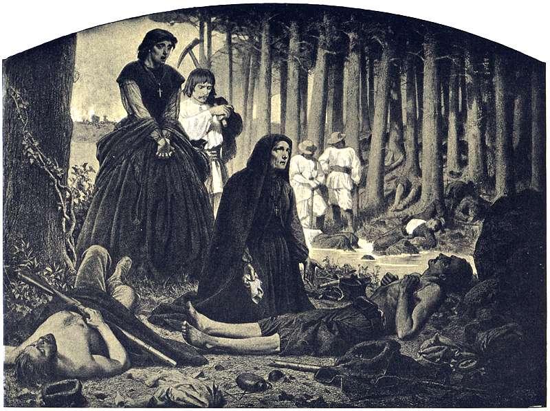 Pobojowisko po walce powstańców styczniowych z carską armią. Autor: Artur Grottger