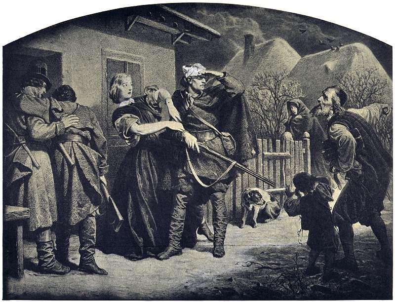 Powstańcy w schronisku na Podolu. Artur Grottger