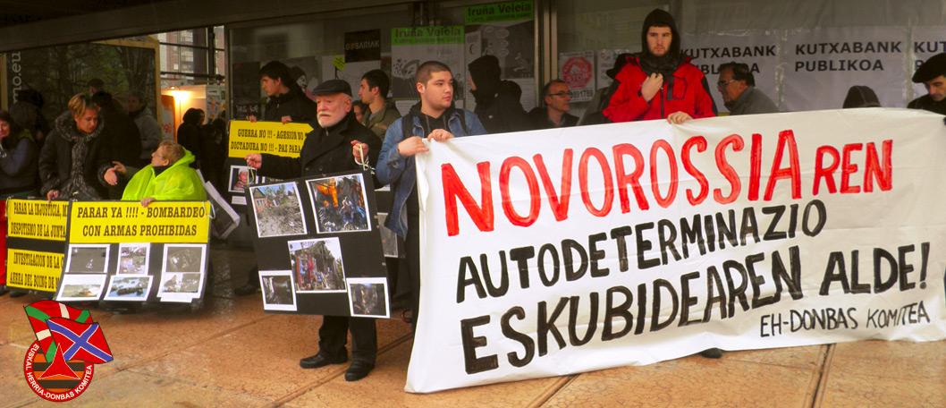 Aktywiści baskijskiego ugrupowania, popierającego działania Rosji na Donbasie. Źródło: ZN.UA