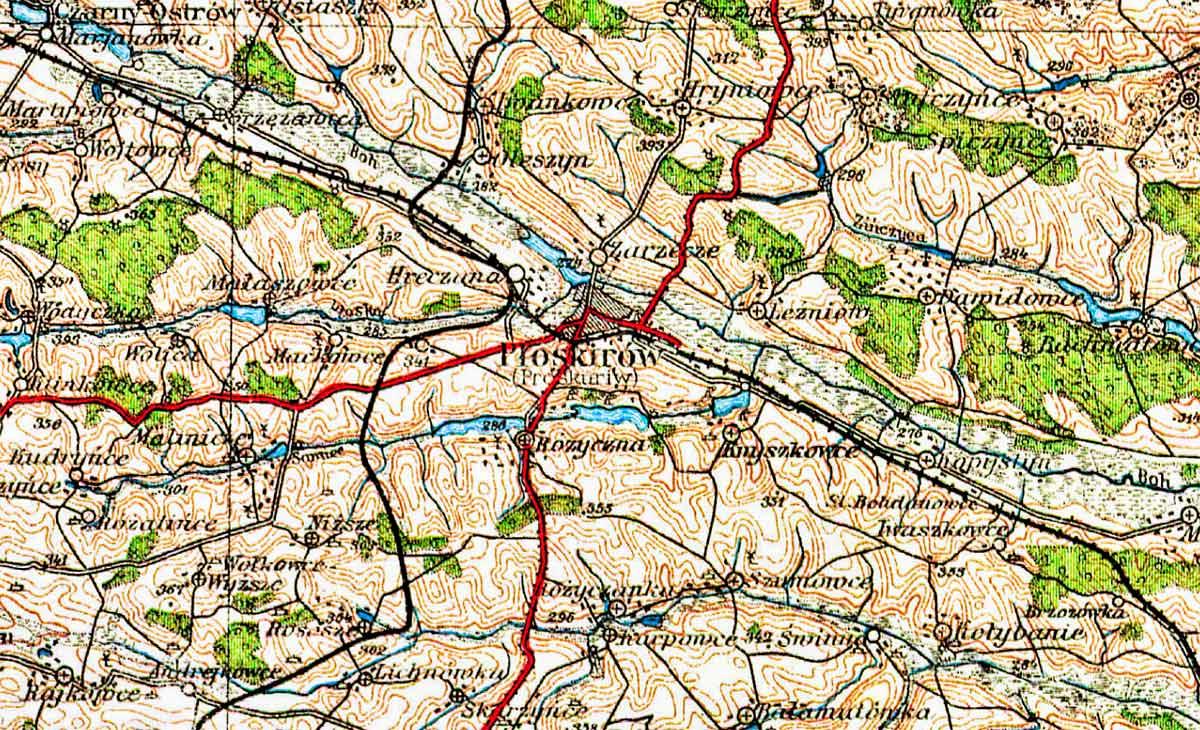 Płoskirów na polskiej mapie wojskowej z 1928 r.