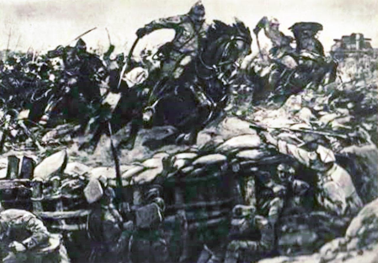 Szkic sowieckiego malarza Awiłowa, przedstawiający przerwanie polskiej linii obrony pod Samgródkiem