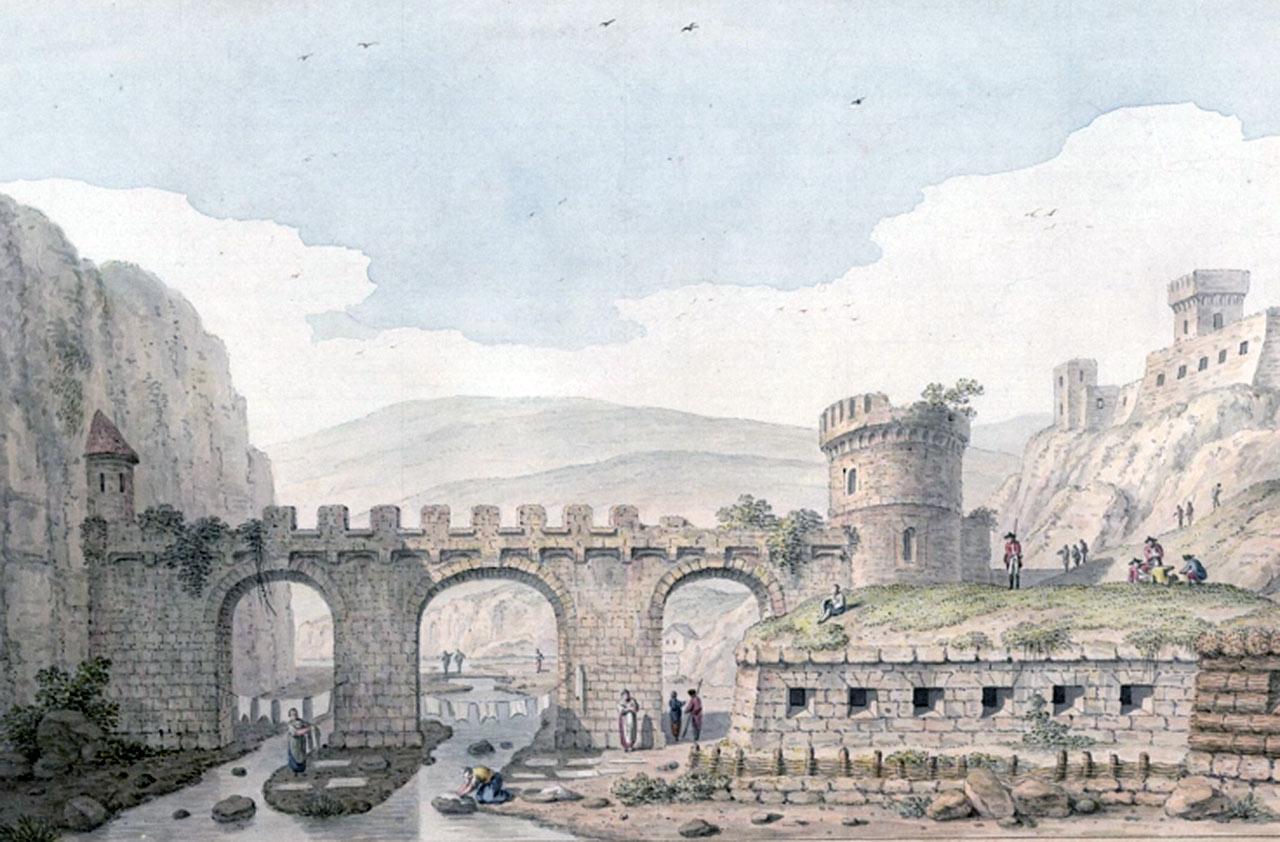 Ruska brama w kamienieckiej twierdzy. Autor - Johann Heinrich Müntz