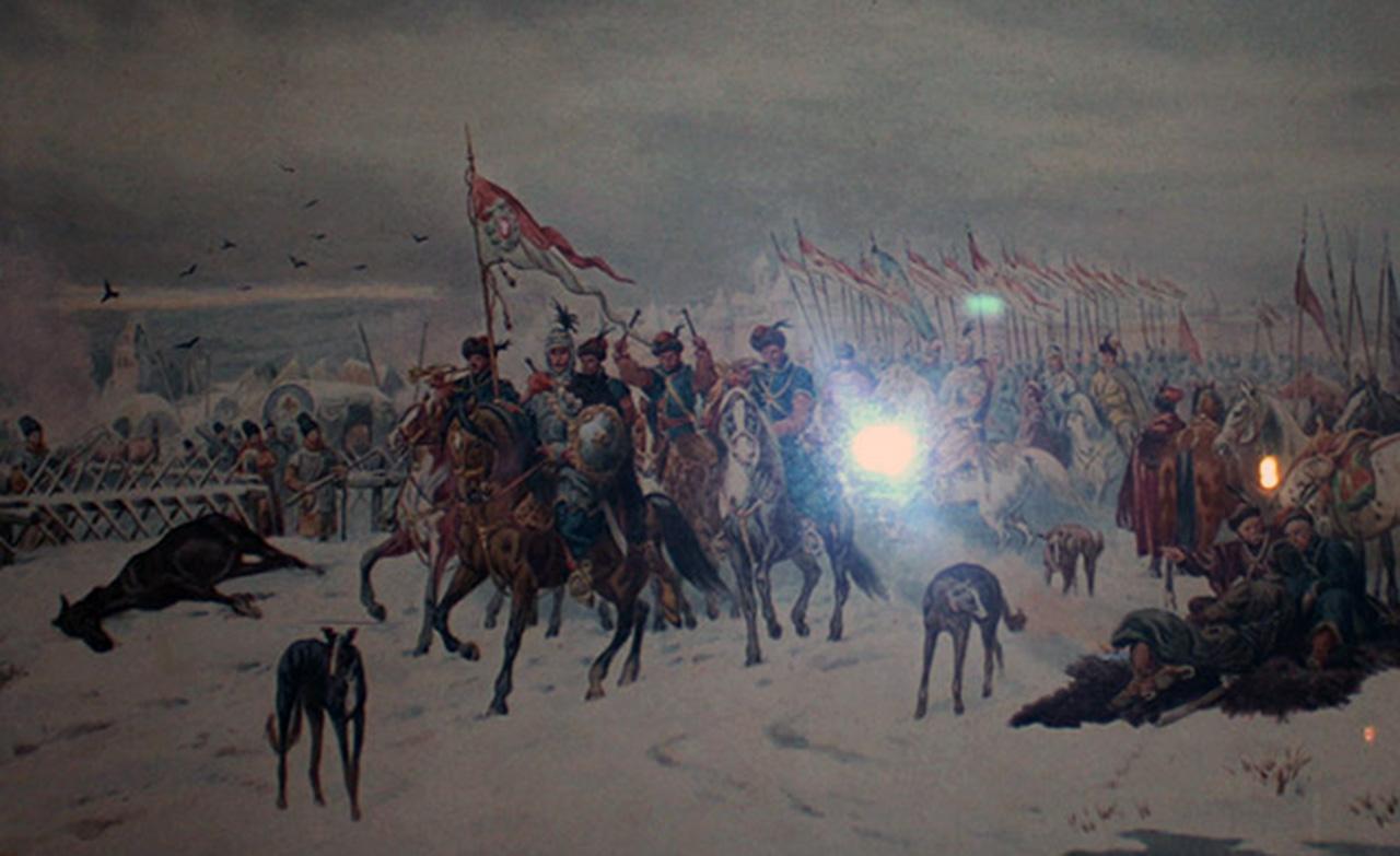 """Obraz Juliusza Kossaka """"Tyszkiewicz i chorągiew pancerna pod Kijowem"""" (1882 r.)"""
