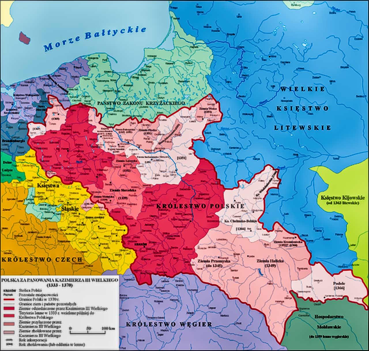 Mapa Europy Wschodniech w czasach Kazimierza III Wielkiego. Źródło: kazimierzwielki.pl