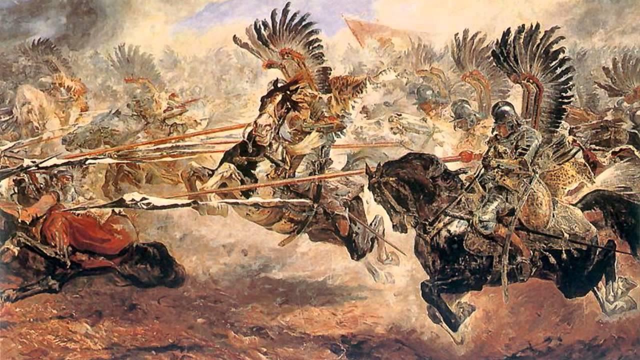 Atak husarii podczas bitwy pod Kłuszynem. Autor: Stanisław Kaczor Batowski