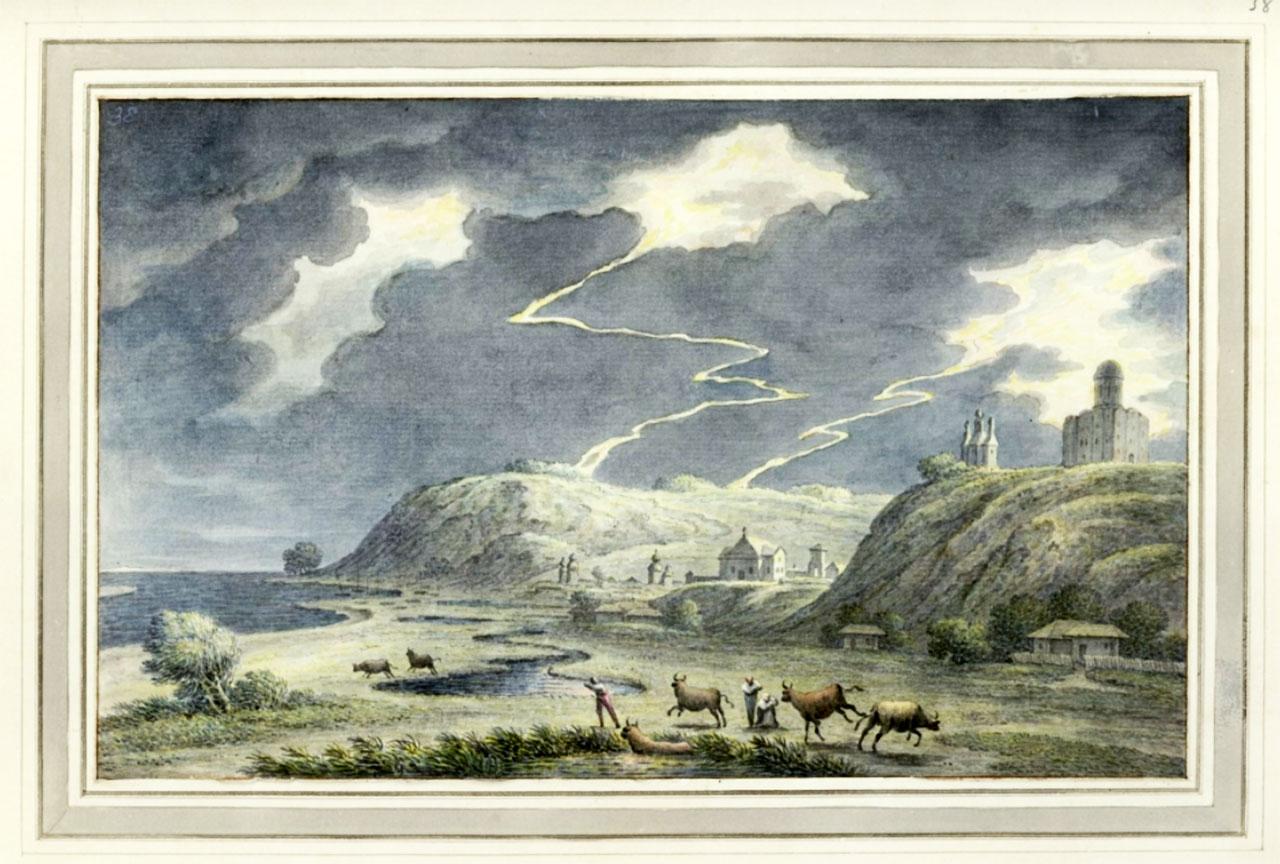 Widok Kaniowa w trakcie burzy; na wzniesieniu po prawej stronie dwie cerkwie; na pierwszym planie pasterze i rozbiegające się zwierzęta. Autor Müntz, Johann Heinrich (1727-1798) rysownik. Data wykonania – 1782 r.