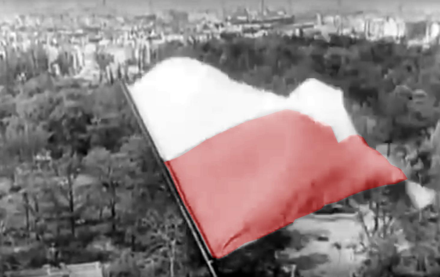 Polska flaga nad zdobytym Berlinem