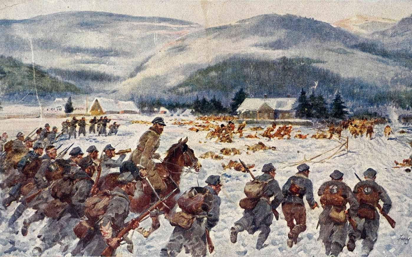 Legioniści w Karpatach pod Rafajłową. J. Kossak