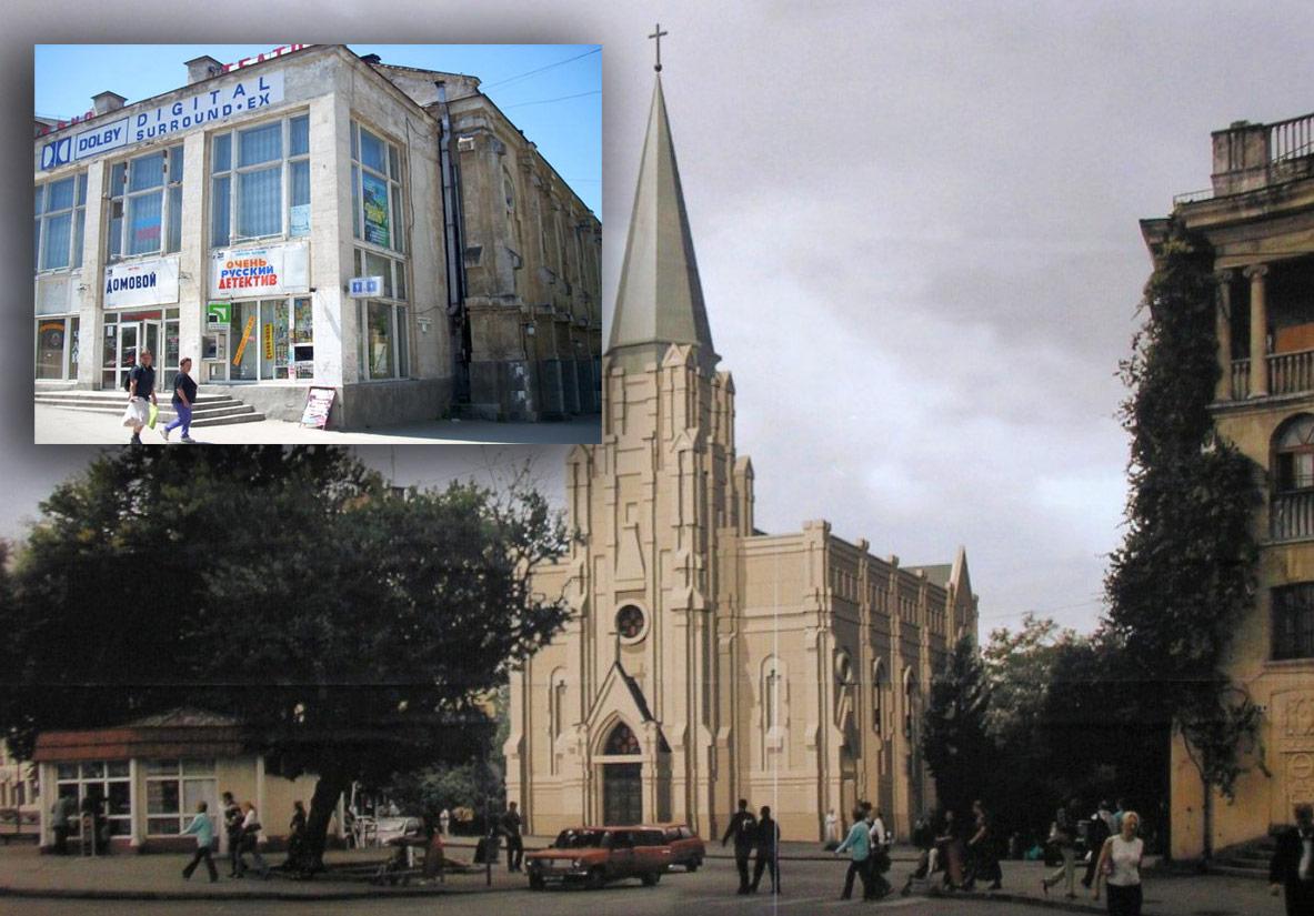 Projekt rekonstrukcji kościoła w Sewastopolu. W ramce jego obecny wygląd. Świątynia wciąż nie została zwrócona wiernym