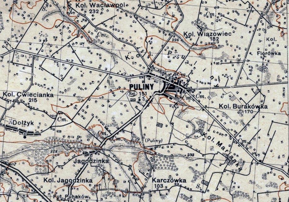 Mapa z 1931 roku z zaznaczonymi Pulinami