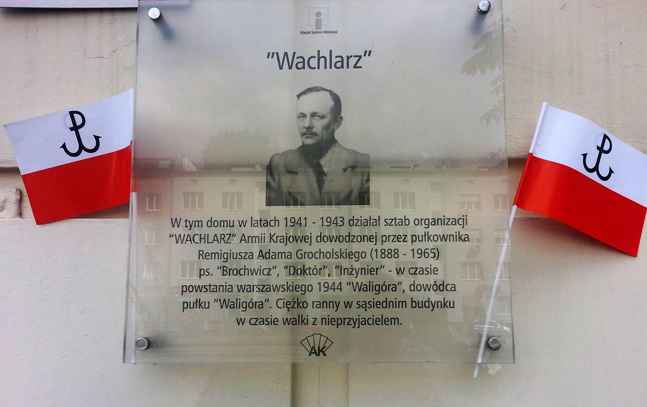 Tablica upamiętniająca udział Adama Remigiusza Grocholskiego w PW. Zdjęcie - Henryk Grocholski