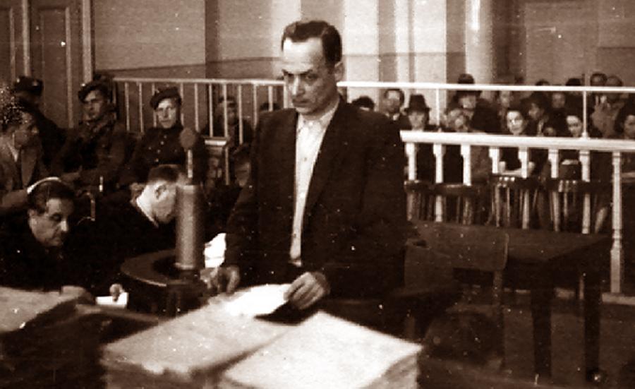 Franciszek Niepokólczycki w czasie tzw. procesu krakowskiego, wrzesień 1946 r. Źródło - IPN