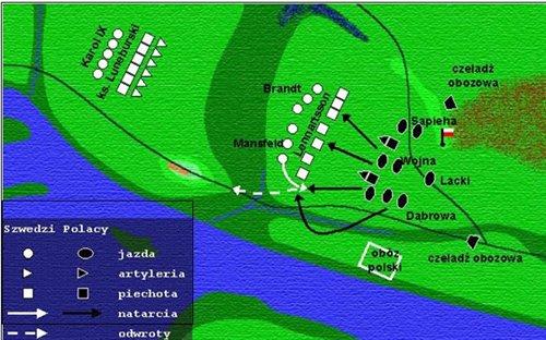 Decydujący moment bitwy - uderzenie na centrum i prawe skrzydło sił szwedzkich
