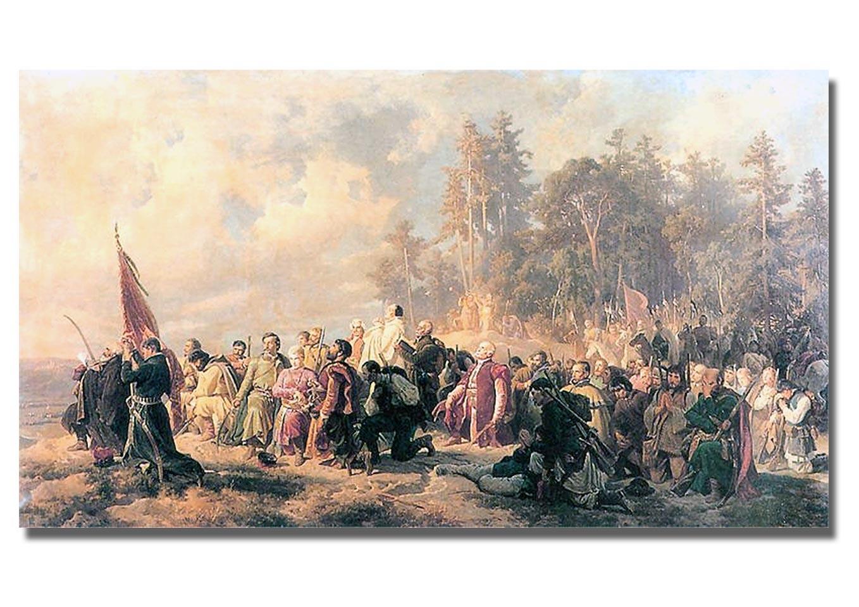 Modlitwa konfederatów barskich. Obraz autorstwa Artura Grottgera