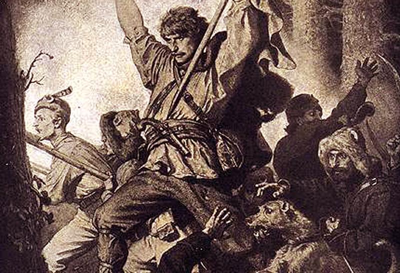 Fragment szkicu Grottgera, poświęconego walce powstańców z Rosjanami