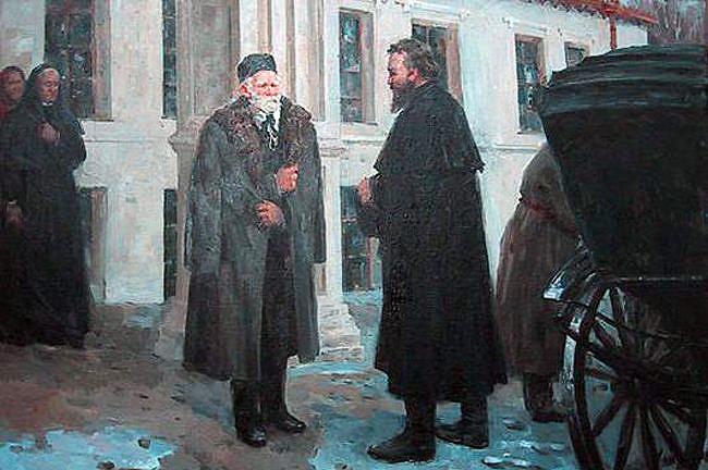 Mikołaj Pirogow u kresu życia wita w swojej podwinnickiej rezydencji znanego lekarza Sklefasowskiego. Autor obrazu: A. Sidorow