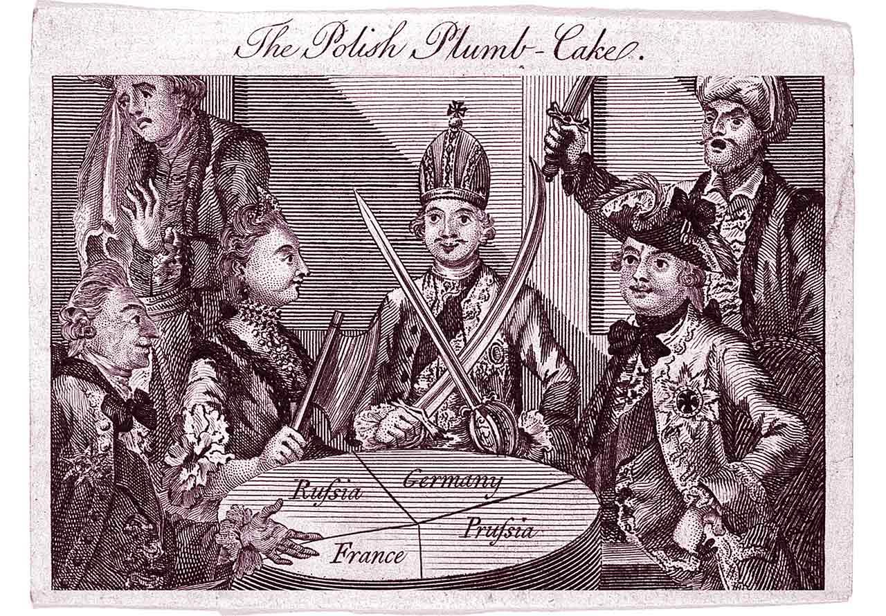 Szkic przedstawiający podział Polski w 1772 r.