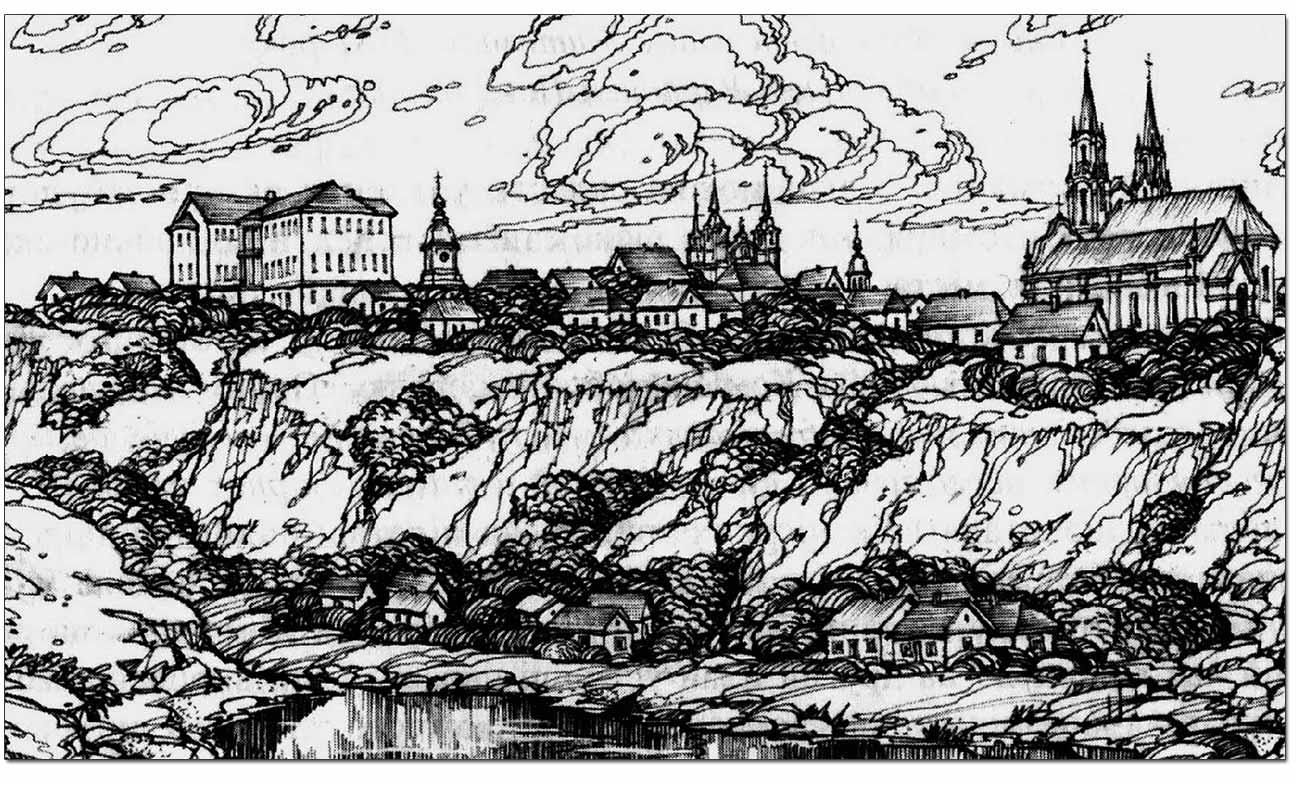 Panorama Góry Zamkowej w Żytomierzu. Rekonstrukcja W. Olejnika. Źródło - http://histzytom.blogspot.com