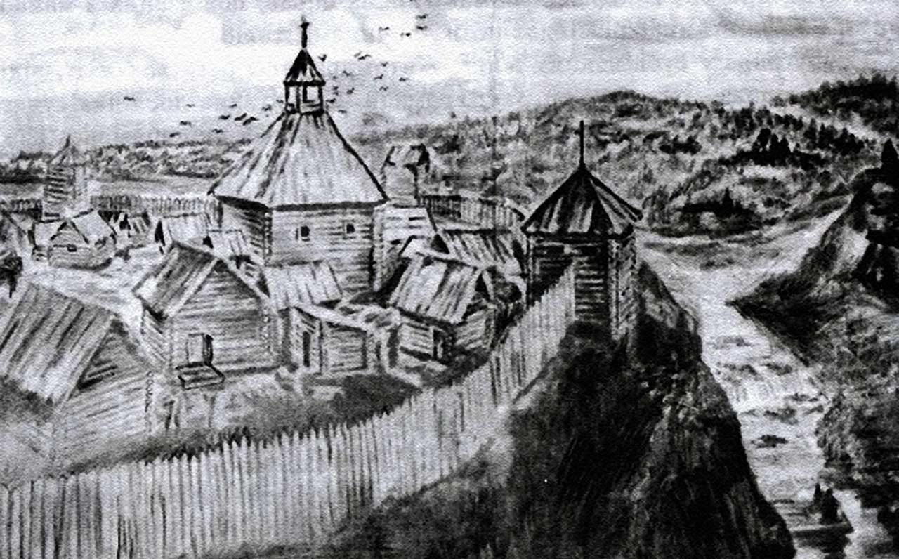 Tak mógł wyglądać pierwszy zamek w Żytomierzu. Rekonstrukcja Kapitaniuka. Źródło - http://histzytom.blogspot.com