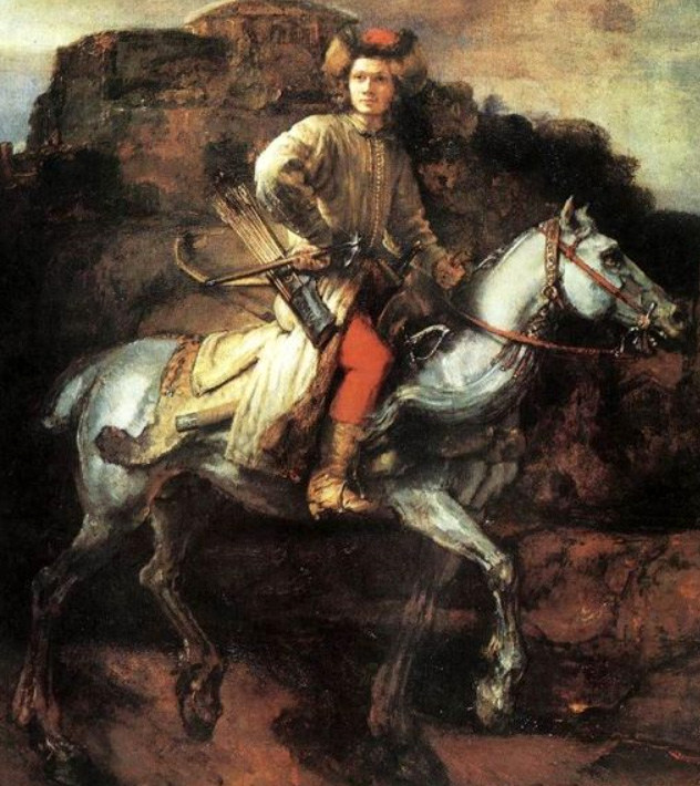 Lisowczyk Juliusza Kossaka wg obrazu Rembrandta: koń poprawiony anatomicznie, za to błąd czapki pozostał, w oryginale była mniej rozłożysta