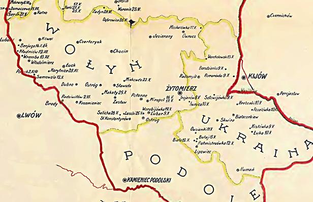 Mapa potyczek na Podolu i Wołyniu
