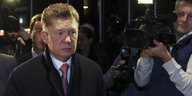 Oleksij Miller, po spotkaniu w Brukseli. Źródło - Reuters