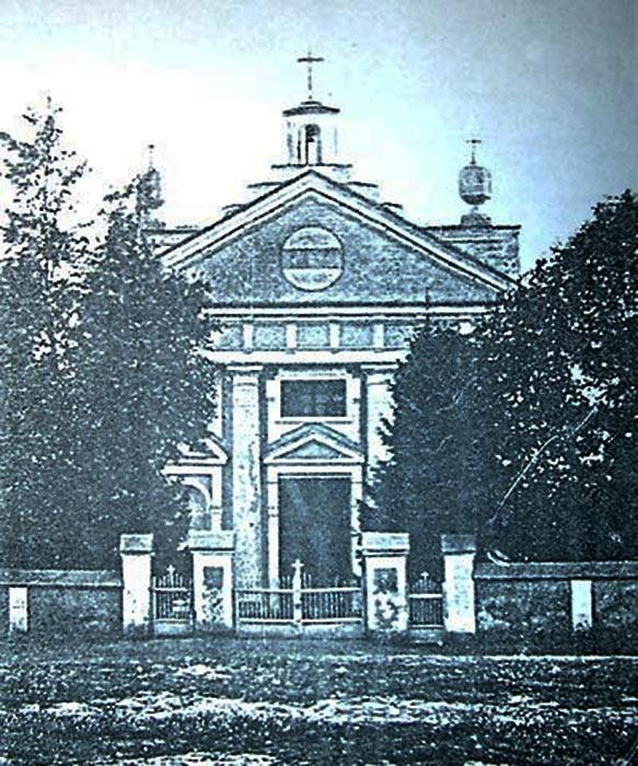 Zdjęcie krasiłowskiego kościoła z początku XX wieku. Źródło - rkc.in.ua