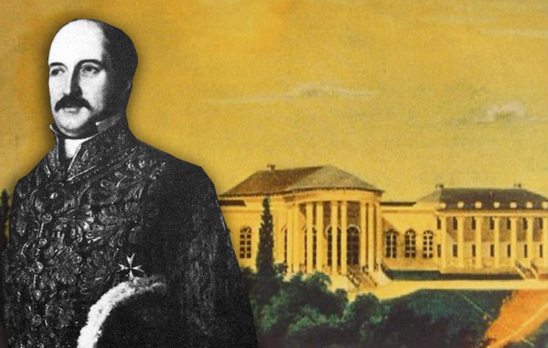 Bolesław Potocki na tle swojego pałacu w Niemirowie (rozebranego przez jego wnuczkę Marię Szczerbatową). Źródło - sergekot.com