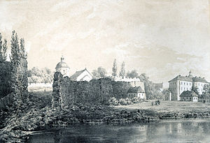 Ruiny fortecy barskiej pod koniec XIX wieku. Szkic Napoleona Ordy