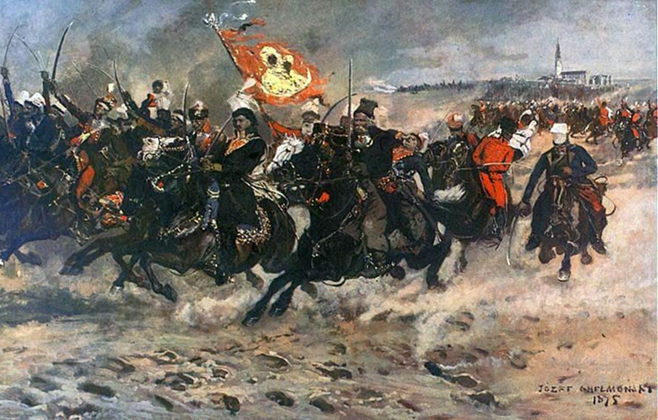 Konfederacji Barscy w natarciu pod Częstochową. Źródło - odyssynlaertesa.wordpress.com