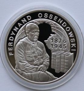 Rewers monety o nominale 10 zł z wizerunkiem Antoniego Ferdynanda Ossendowskiego
