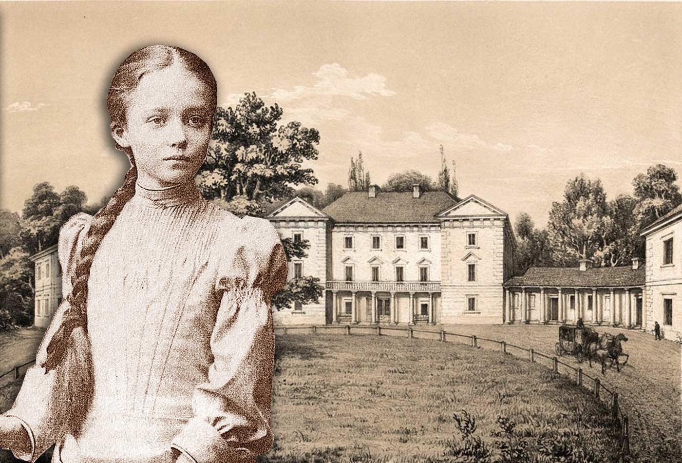 Młoda Maria Grocholska na tle ojcowskiego pałacu w Pietniczanach