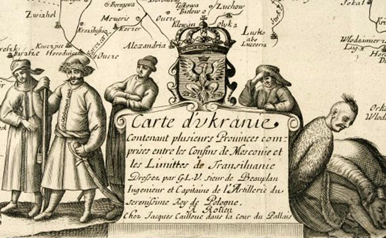 Fragment generalnej mapy Ukrainy autorstwa Guillaume'a le Vasseur de Beauplana, XVII w.