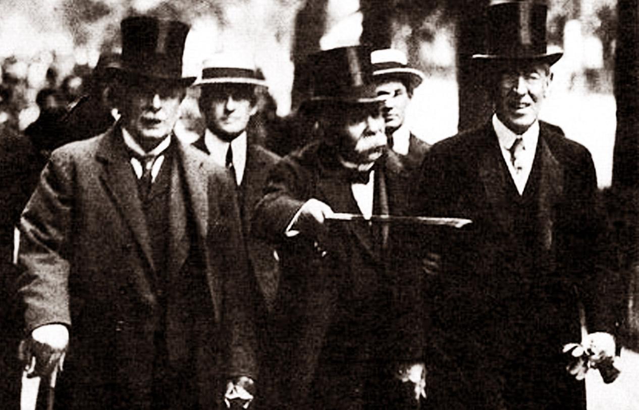 Lloyd, Clemanceau i Wilson. W ich rękach w 1919 roku był los całego świata. Źródło - ukrmap.su