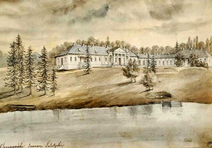 Szkic byłego pałacu Sulatyckich w Prywitnem